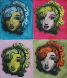 Drawing I: Object Project, Barbie in the style of Warhol, chalk and charcoal on paper.