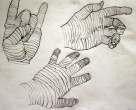 Drawing I: Cross Contour Hand Studies (graphite on paper)
