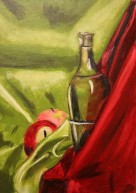 Painting I: Red/Green Complimentary Color Still Life. (Oil)