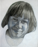 Juanita, acrylic and graphite on claybord