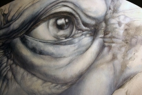 In progress- grisaille stage. Detail of Althea. Graphite, acrylic and oil on panel.