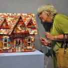 Guest critic Doreen Bolger, Director of the Baltimore Museum of Art, taking in the exhibition. Work by Christina Marsh